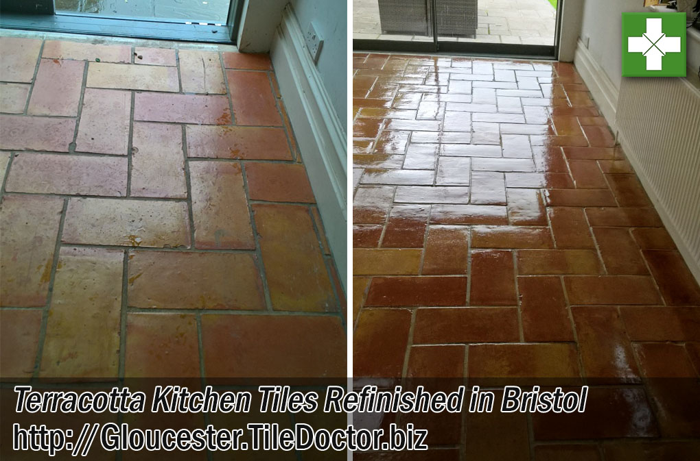 Terracotta Tiled Kitchen Floor Before and After Restoration in Bristol