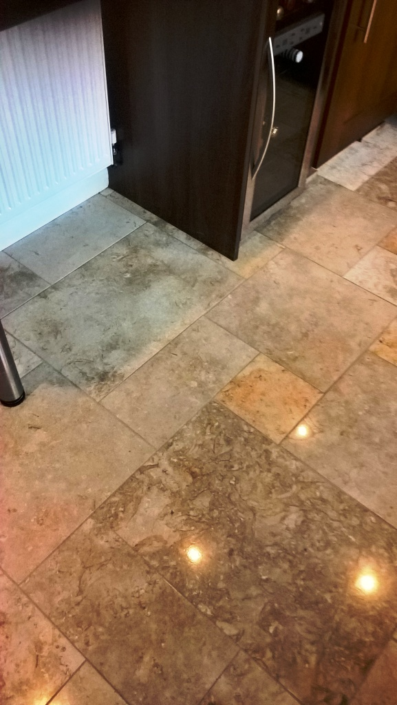 Polished Limestone Kitchen Floor After Cleaning in Cheltenham