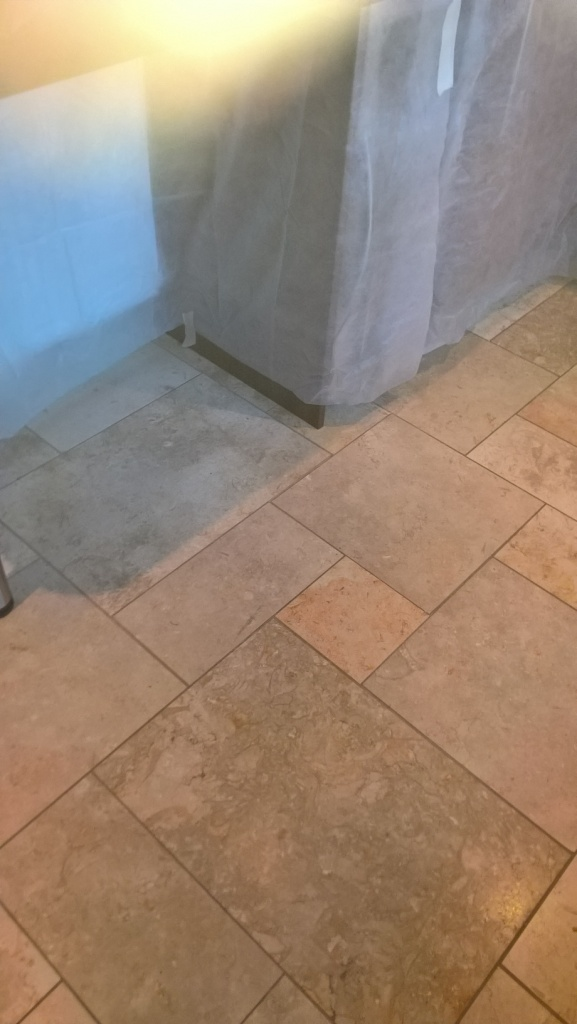 Polished Limestone Kitchen Floor Before Cleaning in Cheltenham
