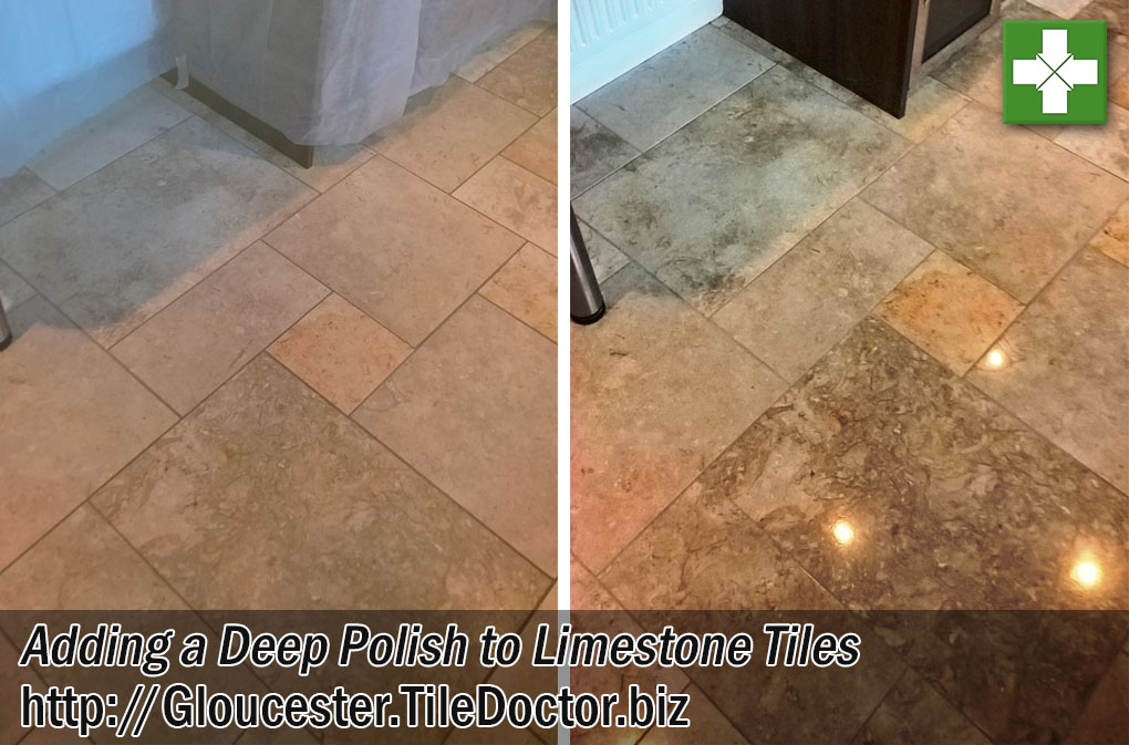 Polished Limestone Tiled Kitchen Floor Before and After Polishing Cheltenham