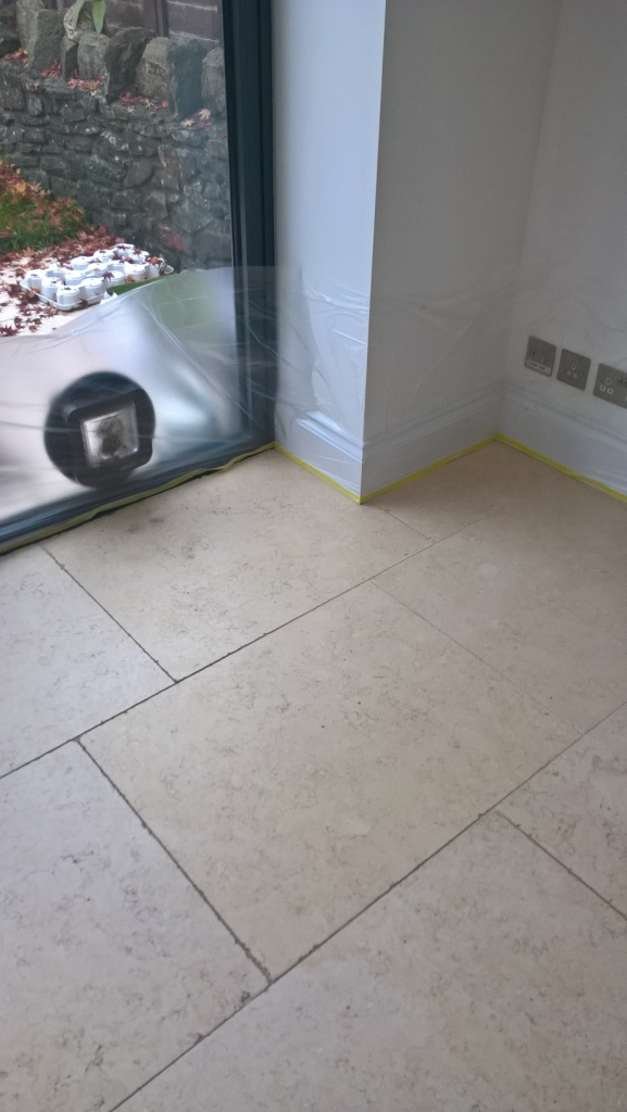 Polished Travertine Cirencester Before Cleaning