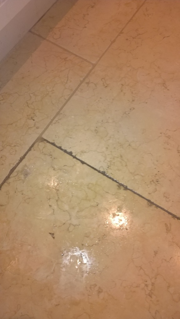 Polished Travertine Cirencester During Cleaning
