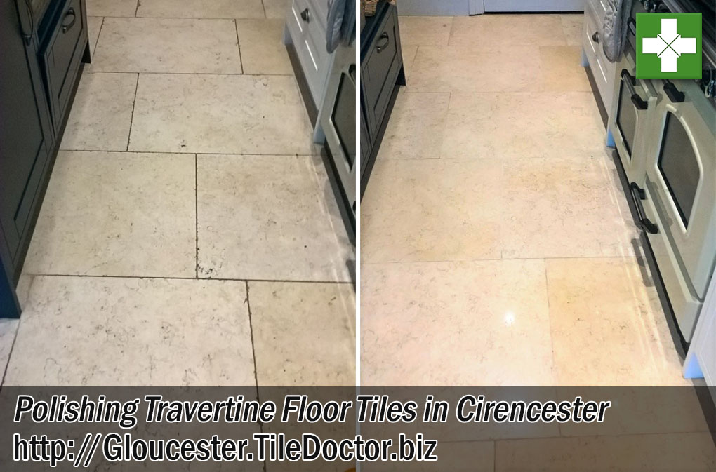 Polishing Travertine Floor Tiles in Cirencester