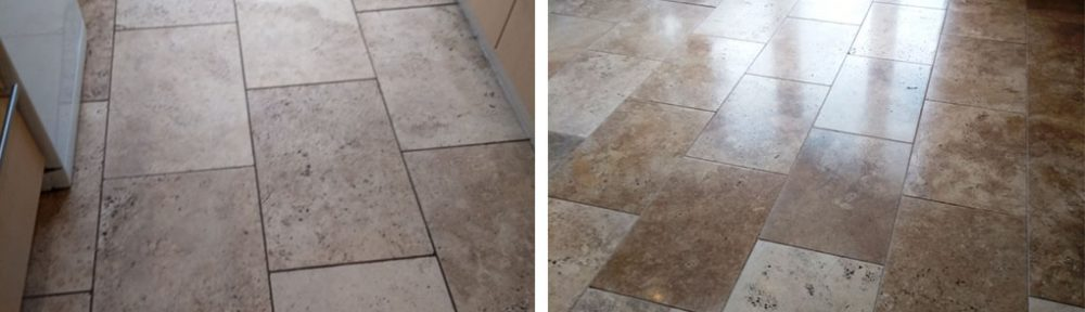 Restoring Polish to a Travertine Tiled Kitchen Floor Cheltenham