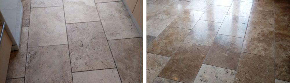 Restoring Polish to a Travertine Tiled Kitchen Floor Cheltenham