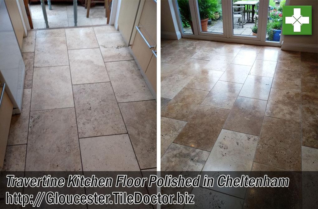 Travertine Kitchen Tiles Before After Polishing Cheltenham