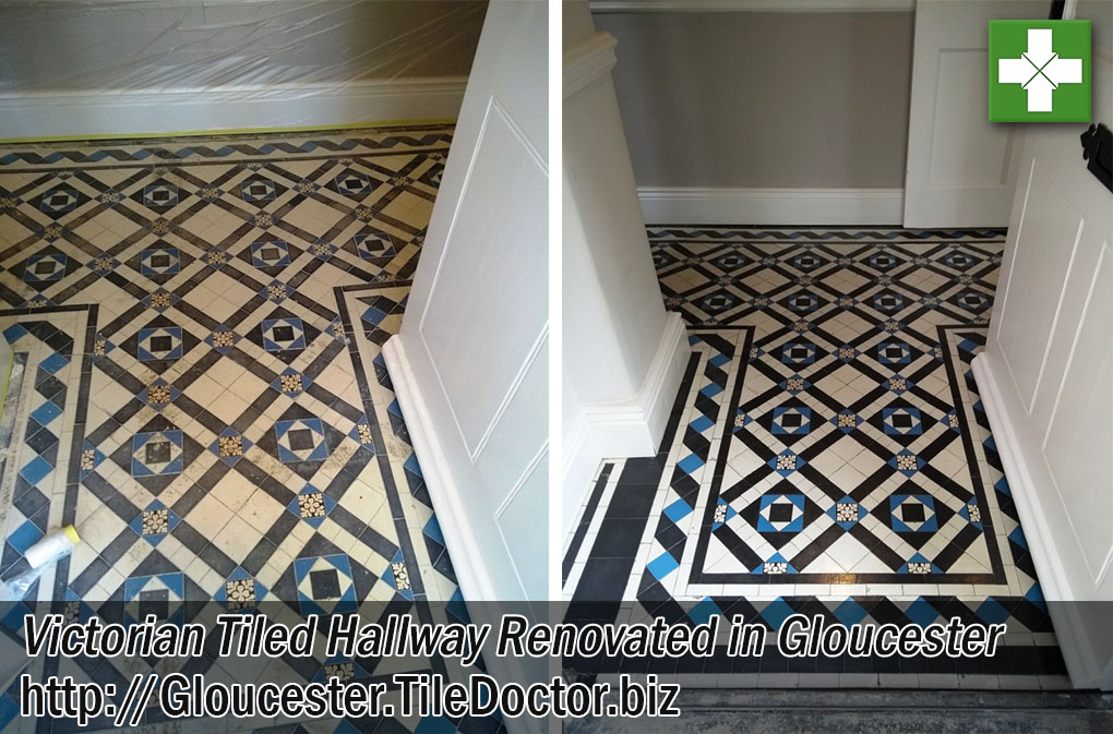 Victorian Tiled Hallway Before and After Renovation Gloucester