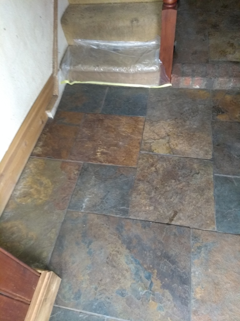 Chinese Slate Floor Cirencester Before Cleaning