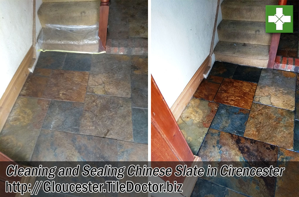 Chinese Slate Hallway Floor Tiles Before Cleaning After Sealing Cirencester