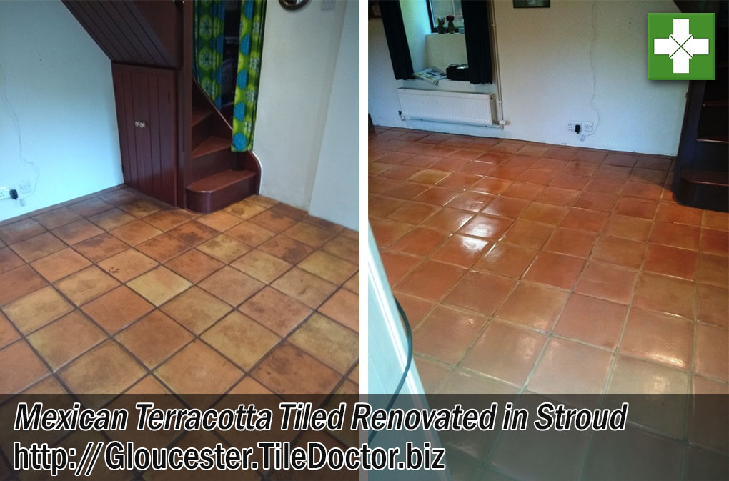Mexican Terracotta Tiled Floor Before and After Renovation Stroud