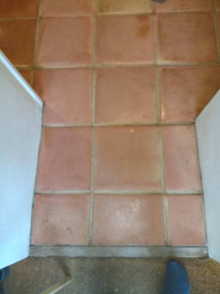 Wax Sealed Mexican Terracotta Tile After Cleaning Before Sealing Stroud
