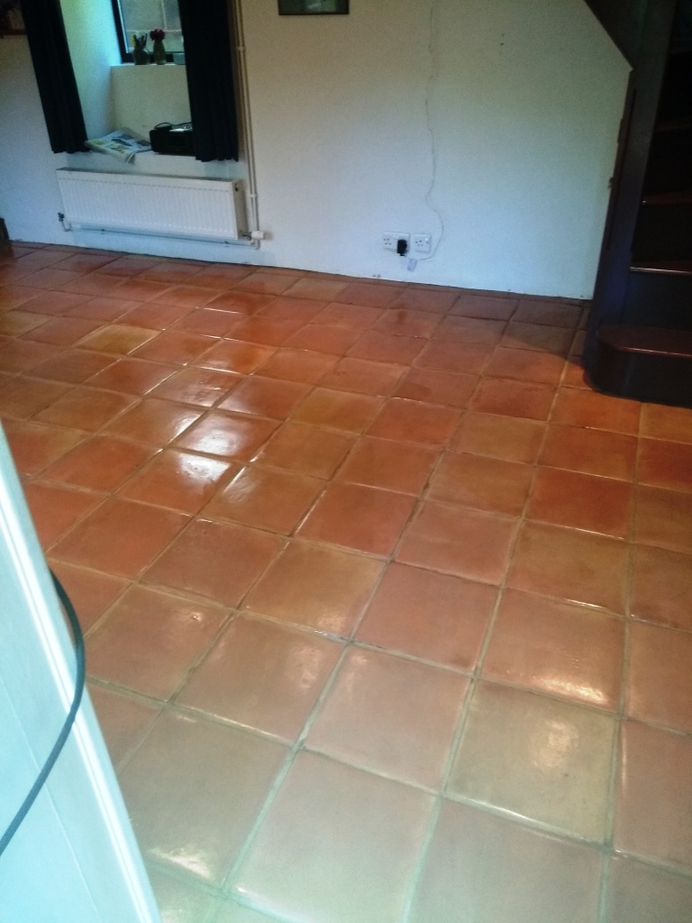 Wax Sealed Mexican Terracotta Tile After Cleaning Sealing Stroud