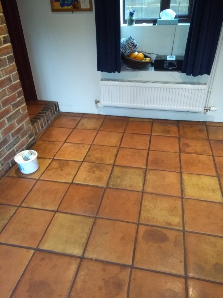 Wax Sealed Mexican Terracotta Tile Before Cleaning Stroud