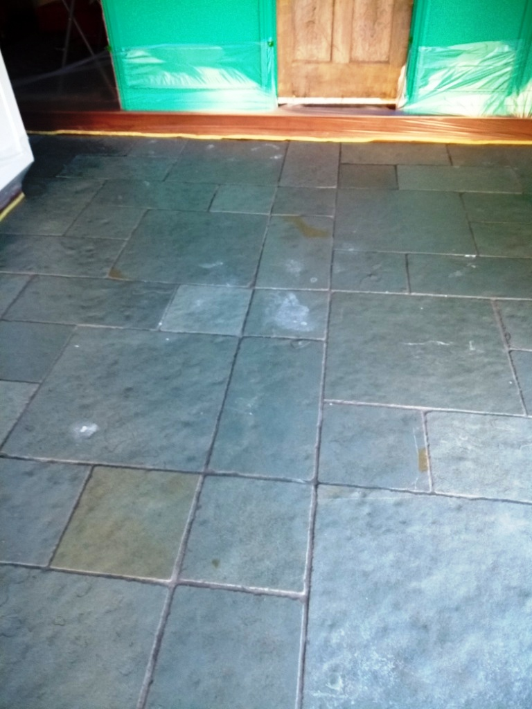 Flagstone Floor Before Cleaning Dursley