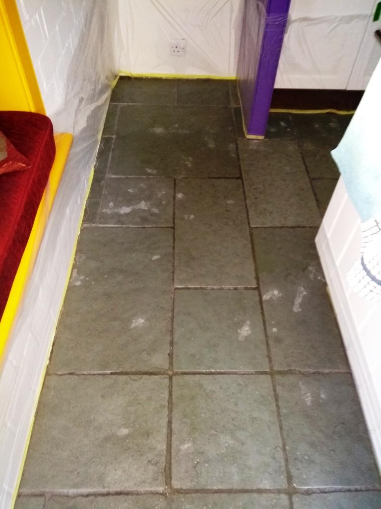 Flagstone Floor Before Cleaning Dursley