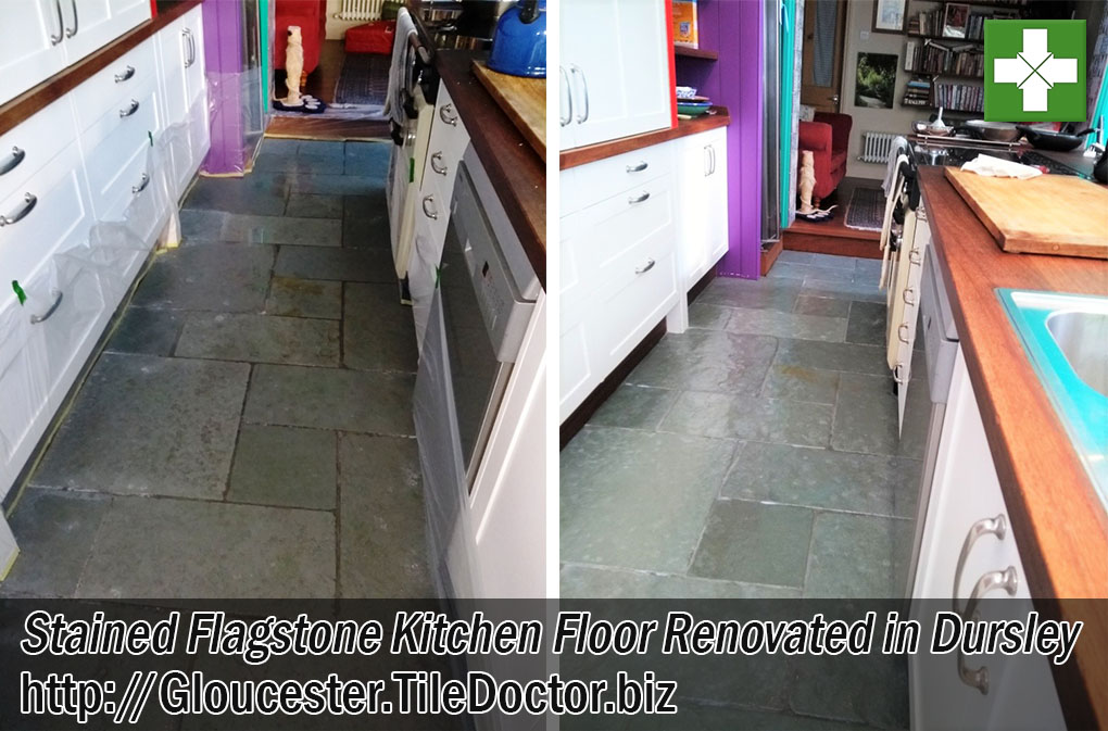 Stained Flagstone Tiled Floor Before After Renovation Dursley