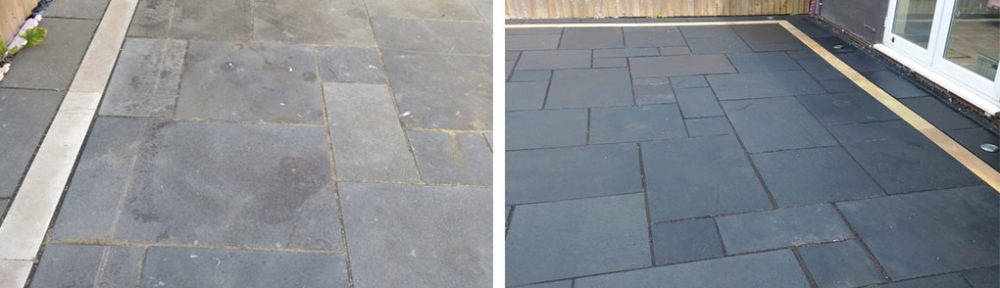 Refinishing a Black Limestone Patio After Installation in Cheltenham