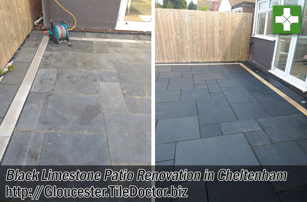 Black Limestone Patio Before After Renovation Cheltenham