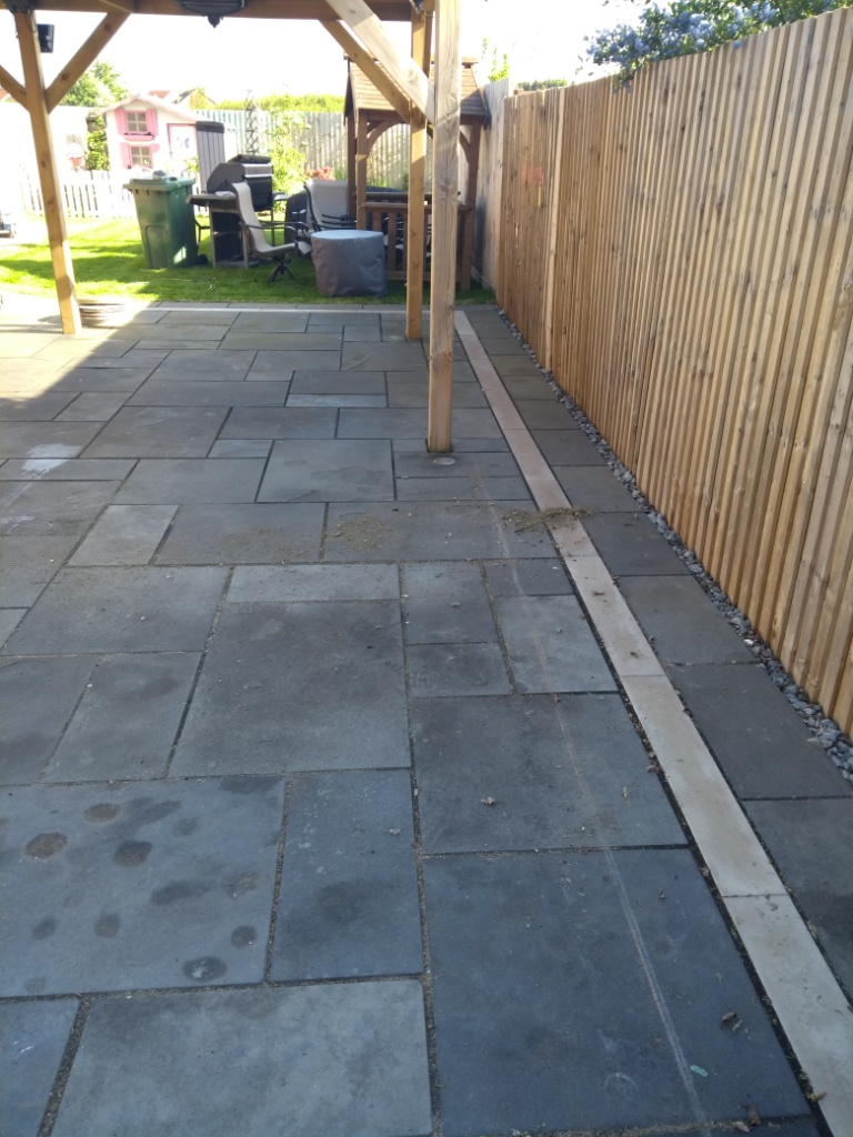 Black Limestone Patio Before Renovation Cheltenham