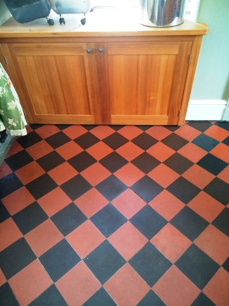 Lino Covered Quarry Tiled Kitchen Floor After Restoration in Filton