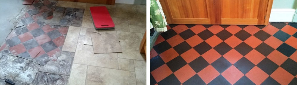 Restoring Quarry Tiles Hidden Under Vinyl Flooring in Filton