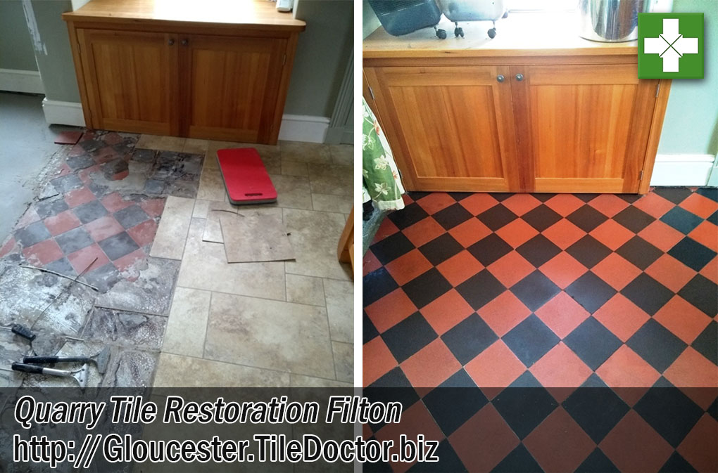 Quarry Tiled Floor Before After Vinyl Removal Filton