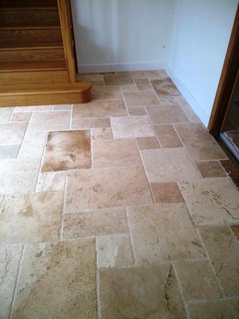 Travertine Tiled Kitchen Floor after polishing Bishops Cleave