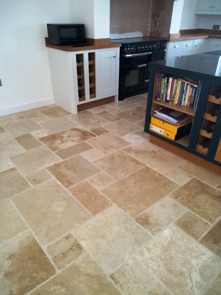 Travertine Tiled Kitchen Floor after polishing Bishops Cleave