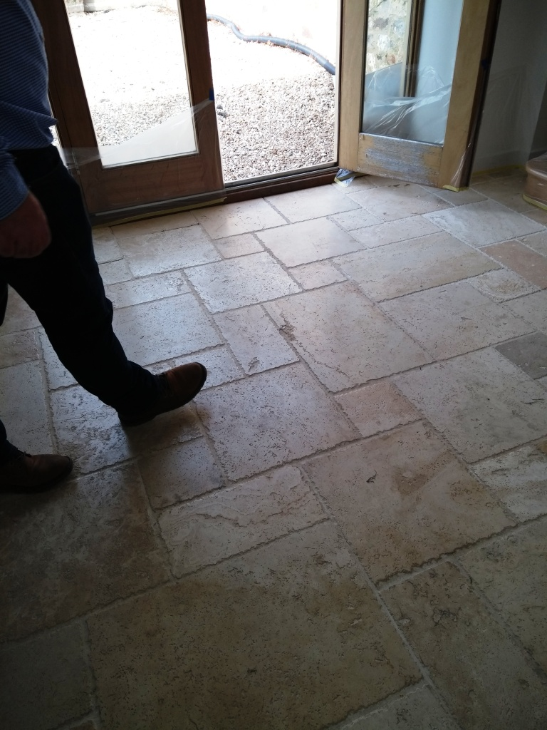 Travertine Tiled Kitchen Floor before polishing Bishops Cleave