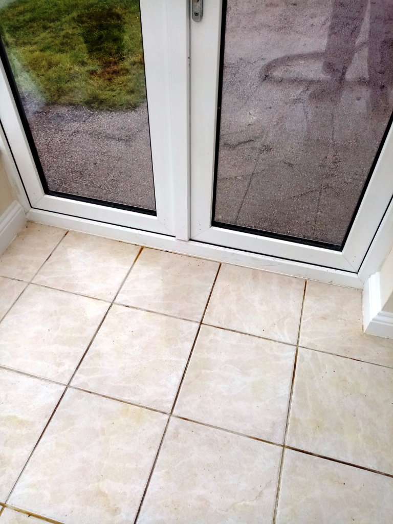 Ceramic Tiled Floor Grout Before Cleaning Stroud Kitchen