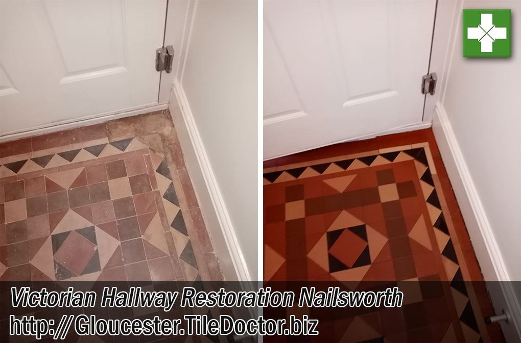 Victorian Tiled Hallway Floor Before and After Restoration Nailsworth