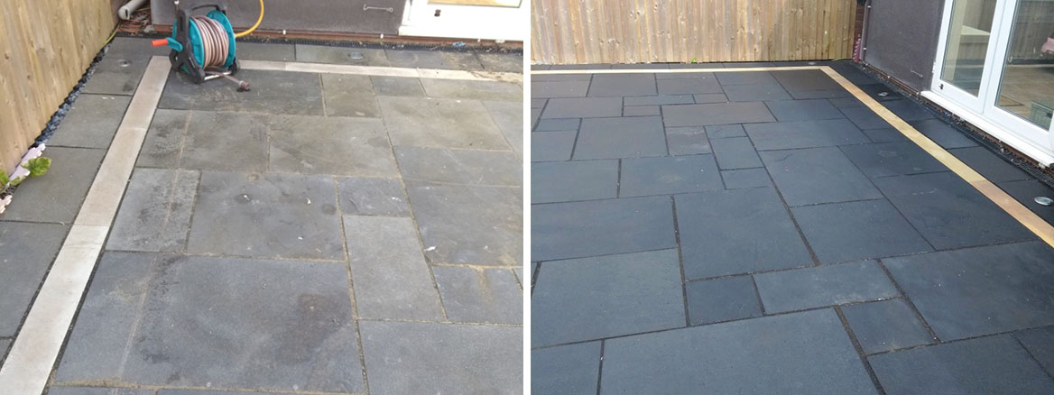 Black Limestone Patio Before After Renovation Cheltenham