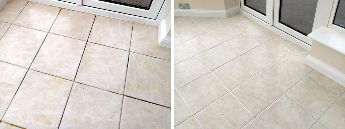 Ceramic Tiled Floor Grout Before After Cleaning Stroud Kitchen