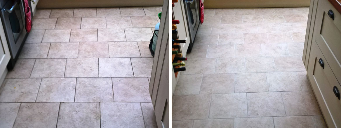 Ceramic Tiled Floor Westmancoate before and after cleaning