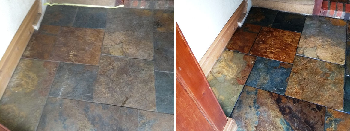 Chinese Slate Floor Cirencester Before After Cleaning Sealing