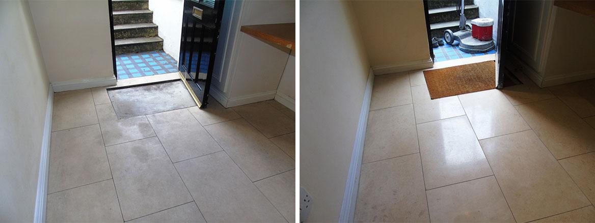 Limestone Hallway Floor Before After Polishing Cirencester
