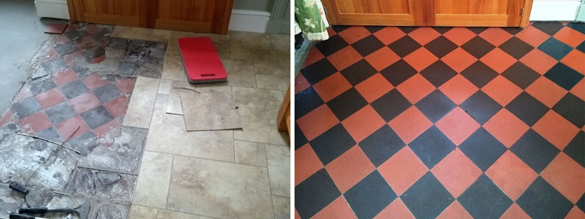 Lino Covered Quarry Tiled Kitchen Floor Before After Restoration in Filton