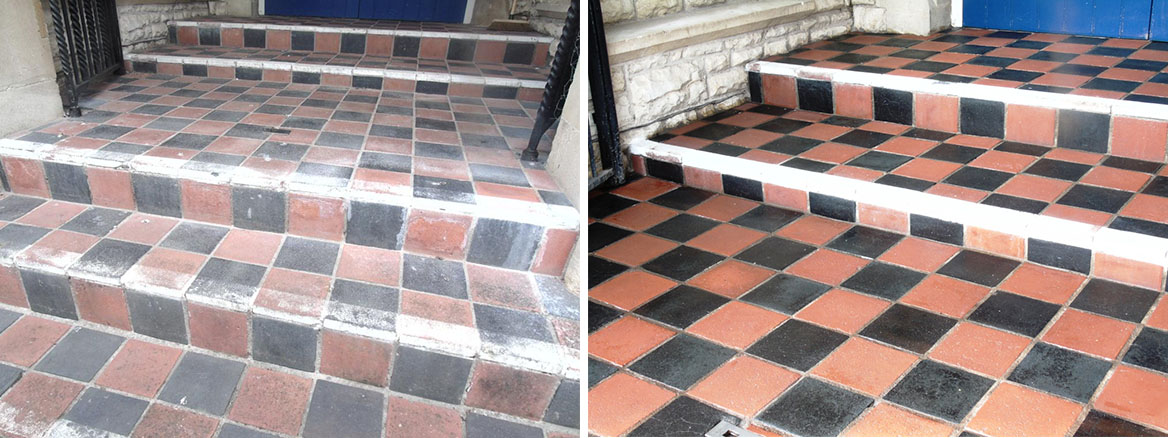 Quarry Tiles From the 1850s Rejuvenated at a Church in Tewkesbury