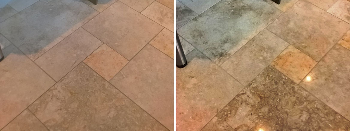 Polished Limestone Kitchen Floor Before After Cleaning in Cheltenham