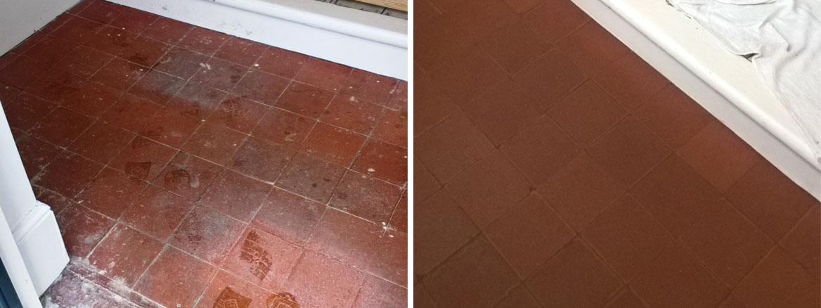 Heavily Stained Red Quarry Porch Tiles Cleaned and Sealed in Moreton-in-Marsh