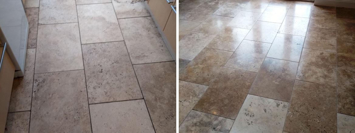 Travertine Floor Cheltenham Before After Cleaning