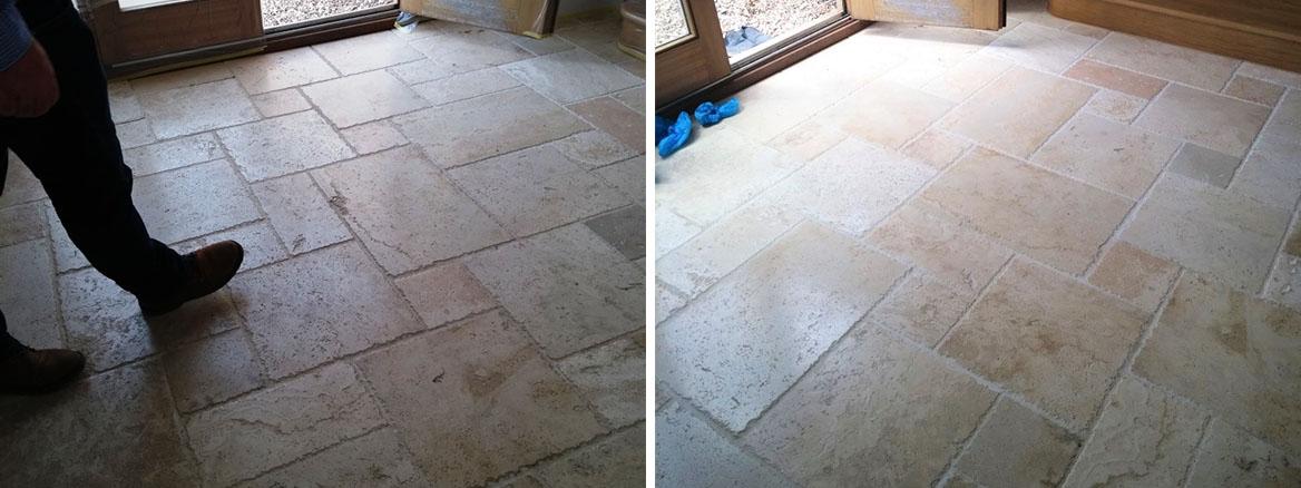 Travertine Tiled Kitchen Floor before after polishing Bishops Cleave