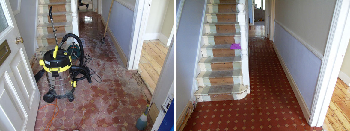 Victorian Tiled Hallway Before After Cleaning and Repair in Gloucester