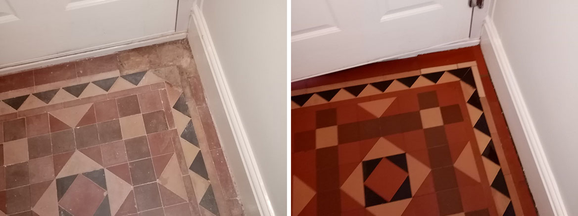 Victorian Tiled Hallway Floor Before After Repair Nailsworth