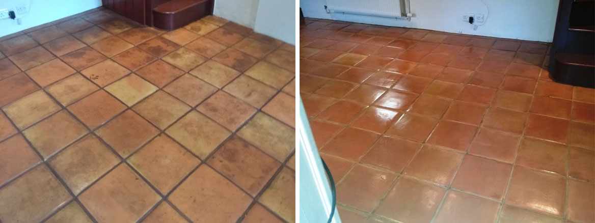 Wax Sealed Mexican Terracotta Tile Before After Cleaning Sealing Stroud