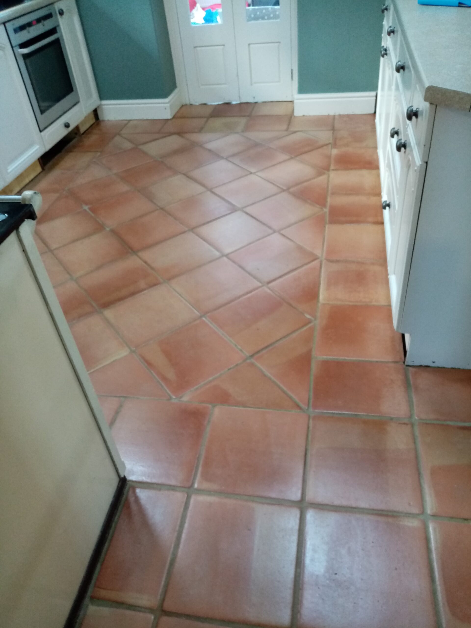 Flood Stained Terracotta Floor After Cleaning Gloucester