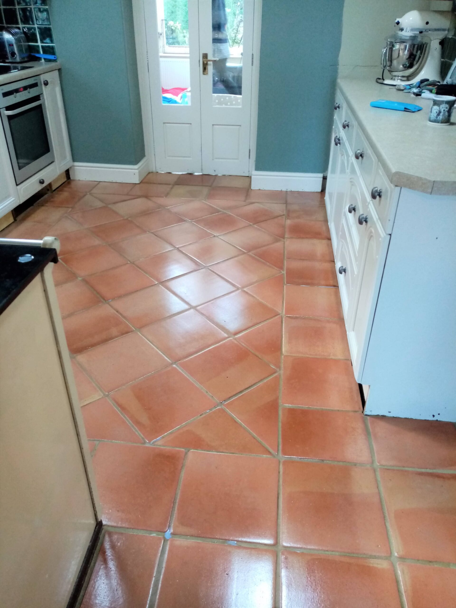 Flood Stained Terracotta Floor After Cleaning Sealing Gloucester