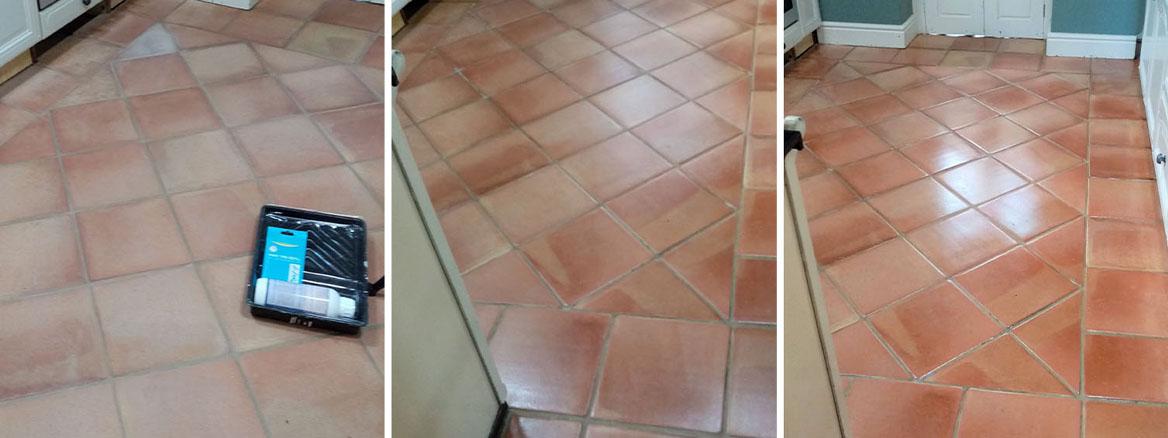 Flood Damaged Terracotta Tiled Kitchen Floor Before and After Renovation in Gloucester