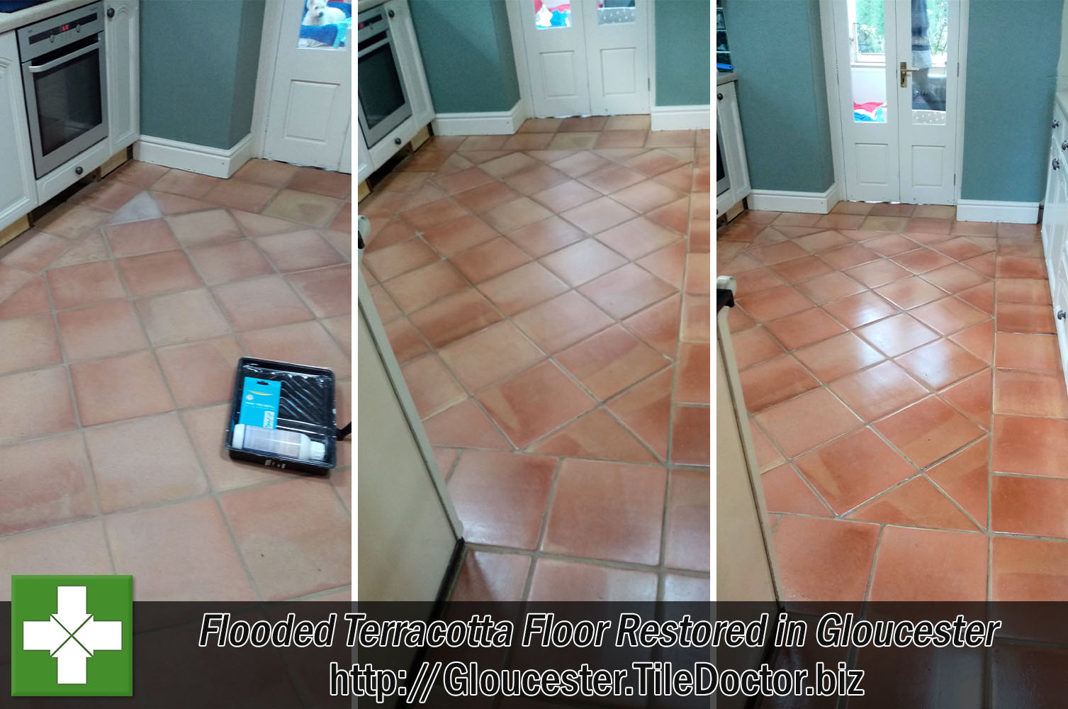 Terracotta Tiled Floor Before and After Renovation Gloucester
