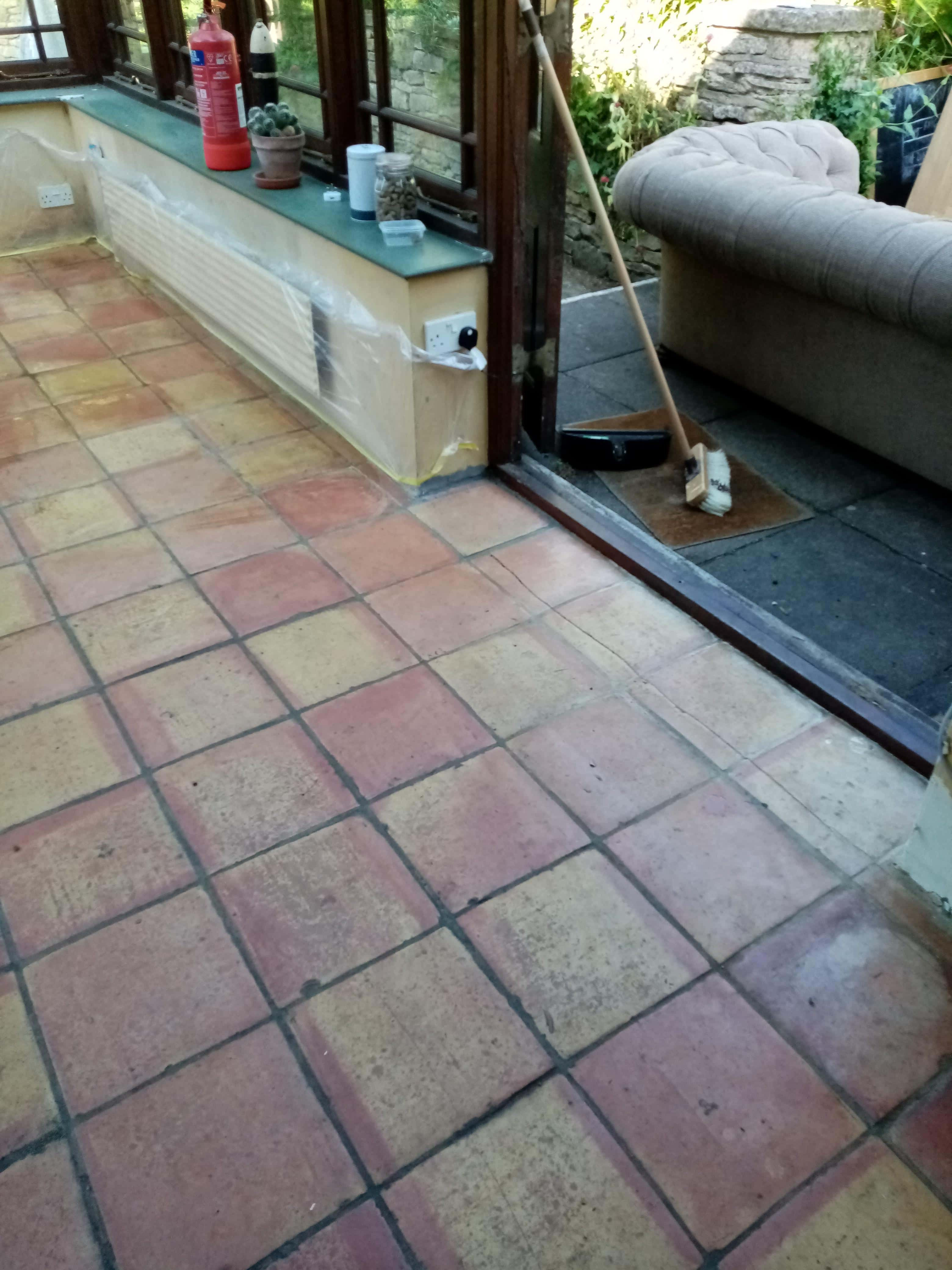 Terracotta Conservatory Floor Dursley Before Cleaning
